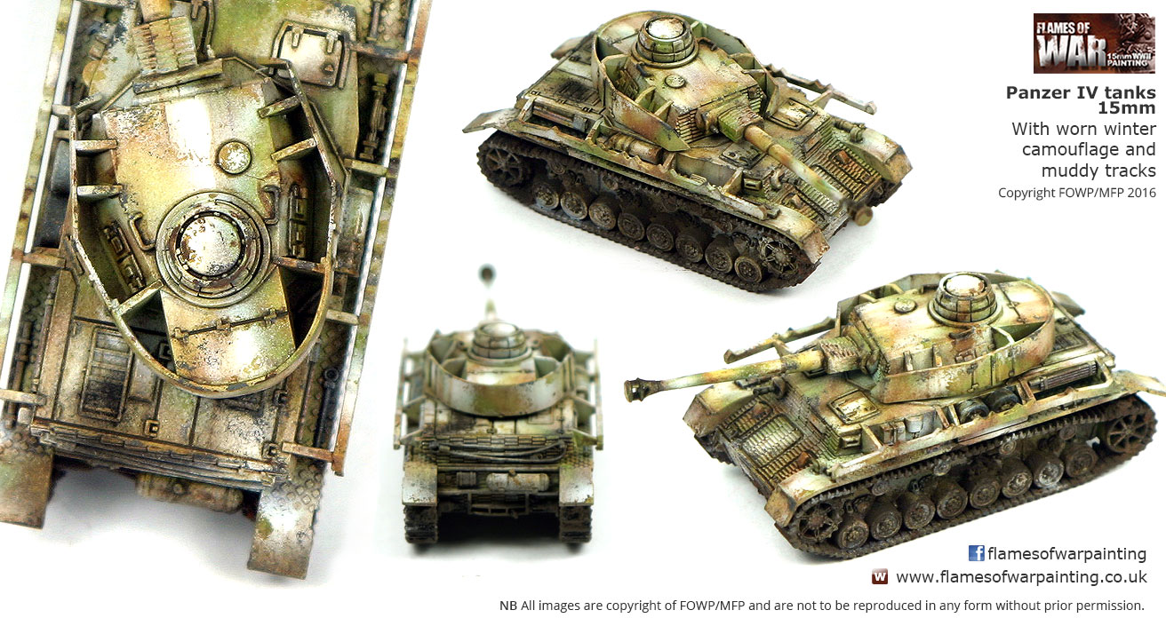 Panzer IV tanks 15mm with worn winte