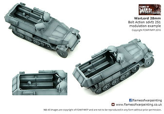 WarLord 28mm  Bolt Action sdkfz 251 modulation example. Painting by Flames of War Painting
