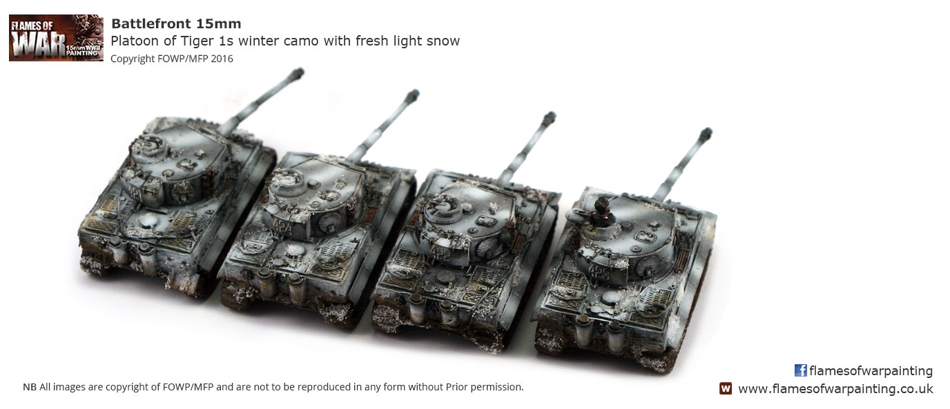 Platoon of Tiger 1s winter camo with