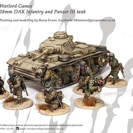 28mm DAK Infantry and Panzer III tank