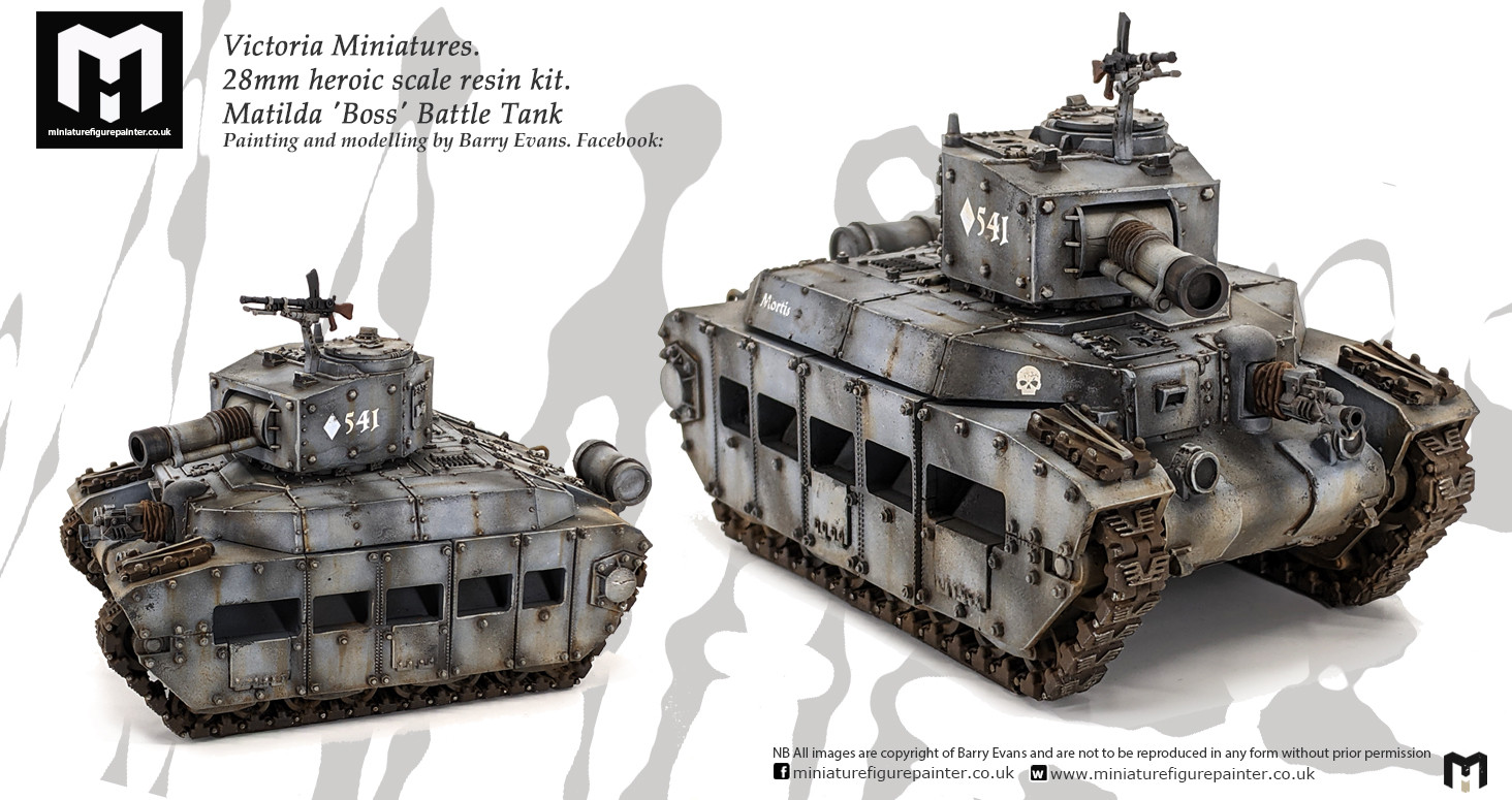 Victoria Miniatures.28mm Matilda 'Boss' Battle TankPainting and modelling by Barry Evans