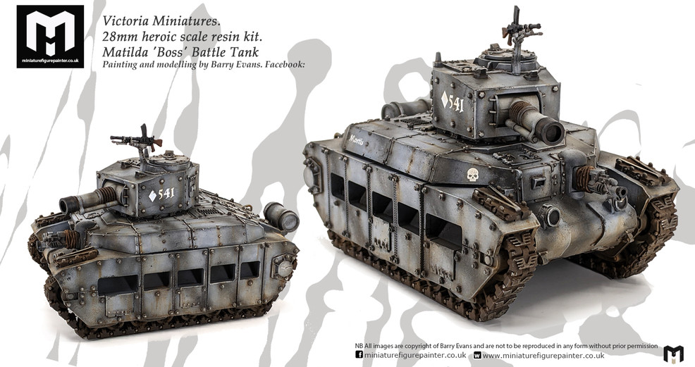 Victoria Miniatures 28mm Matilda 'Boss' Battle TankPainting and modelling by Barry Evans