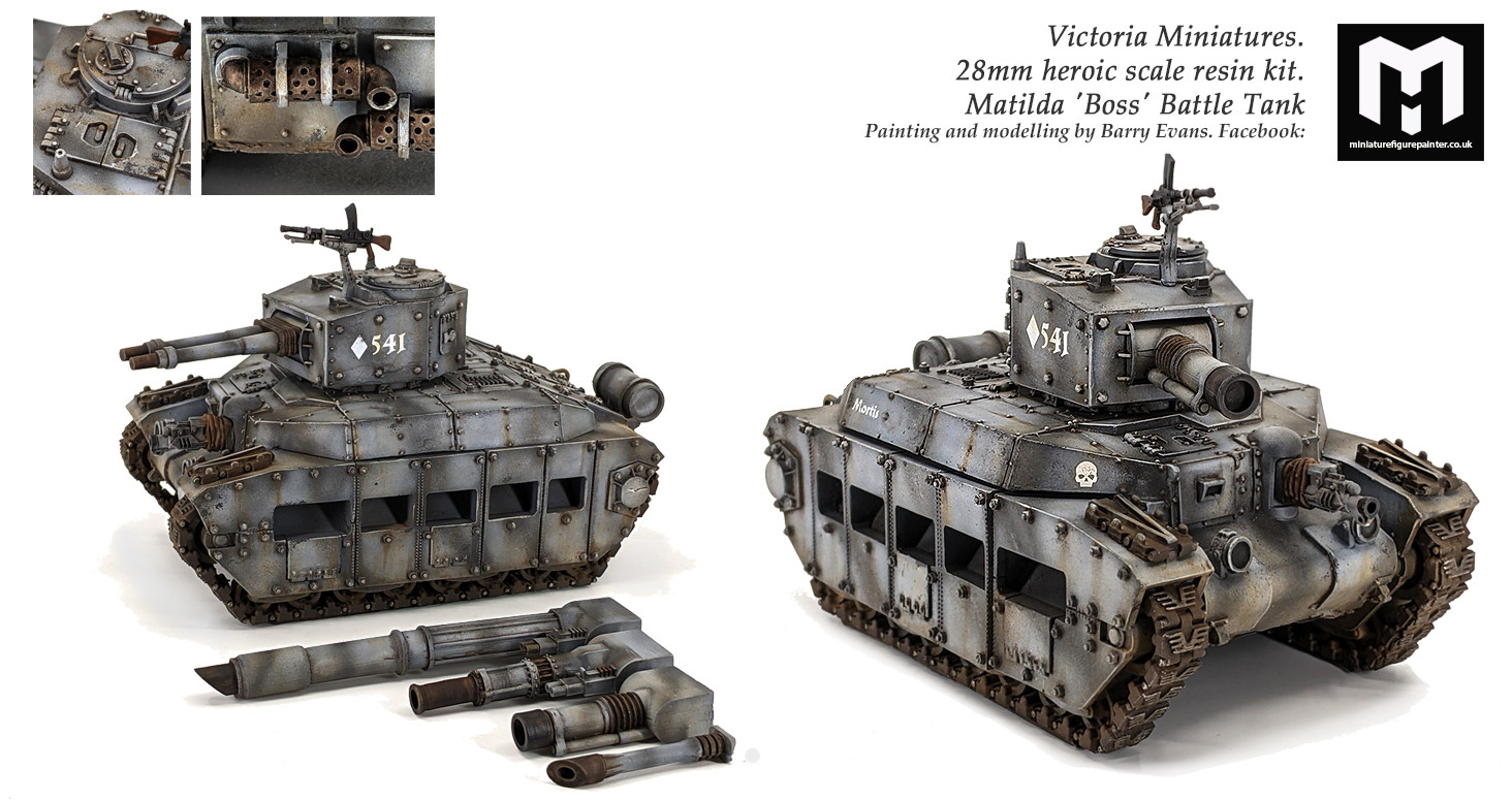 Victoria Miniatures.28mm Matilda 'Boss' Battle TankPainting and modelling by Barry Evans miniaturefigurepainter.co.uk