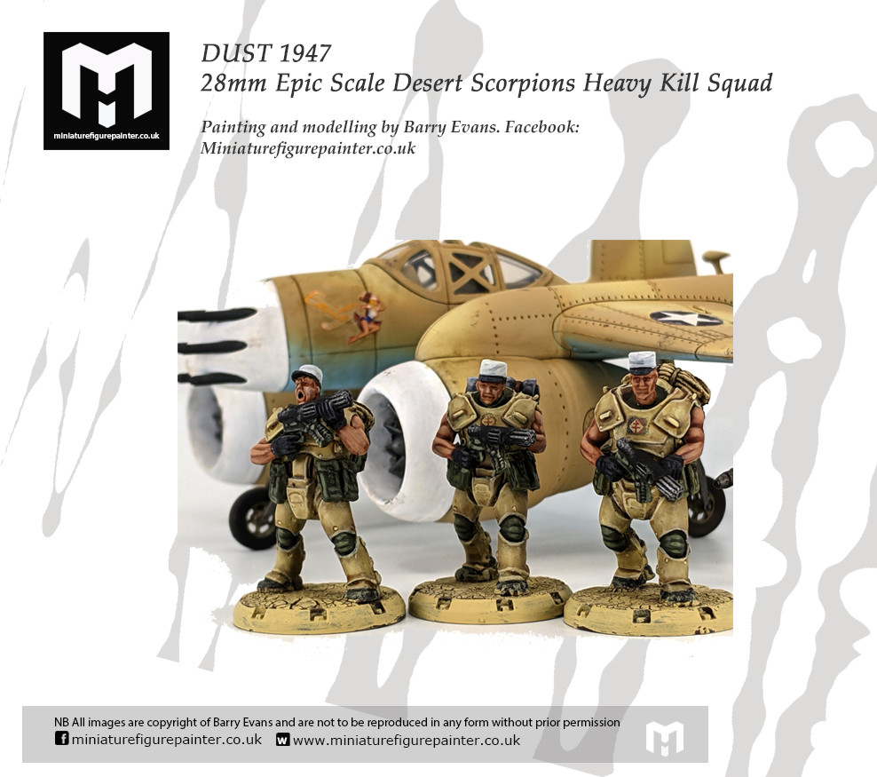 DUST 1947 28mm Epic Scale Desert Scorpions Heavy Kill Squad.