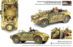 Italian Army AS42 Sahariana with crew 28mm Bolt Action With desert camouflage and dusty tyres painted by Flames of war painter/MFP