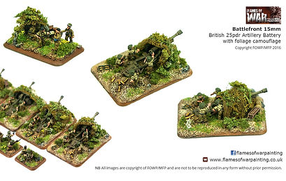 Battlefront 15mm British 25pdr Artillery Battery with foliage camouflage netting painted by FOWP Flames of war painting