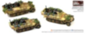 15mm German Half tracks with camo and foliage painted by  flames of war painting