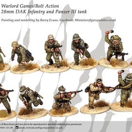 Bolt Action 28mm DAK Infantry. Painted by Barry Evans miniaturefigurepainter.co.uk
