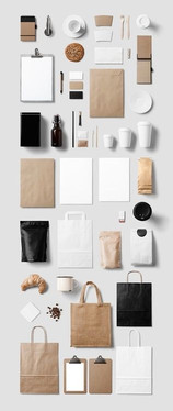 Flat Lay of paper bags and products