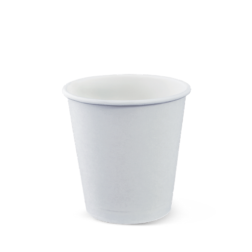 8oz Squat Plain White Hot Cup Single Wall