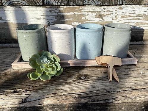 Speckle Planter & Tray Set