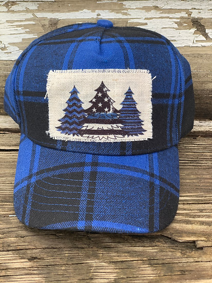 Back the Blue Plaid Chrimstas Hat