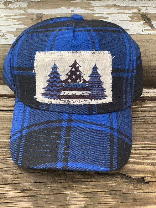Back the Blue Plaid Chrimstas Hat