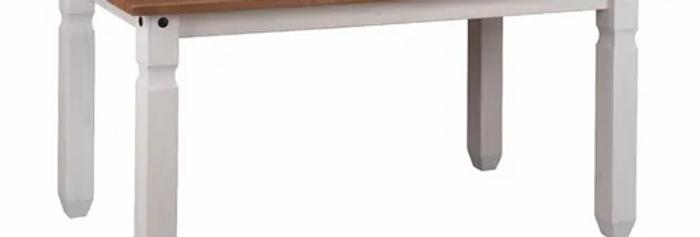 Mesa De Comedor 150 Pino Macizo Blanca Tapa Cera Sensación