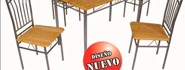 Juego De Comedor 4 Sillas Caño Y Madera Sensación