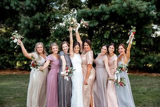 Bridesmaids celebrating