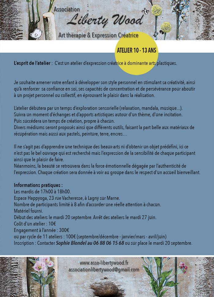 Flyer Atelier 10 - 13 ans LibertyWood