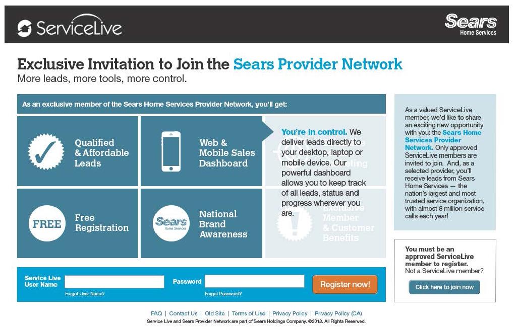 ServiceLive microsite