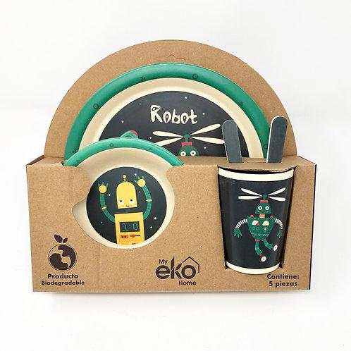 Vajilla infantil Robot  Verde