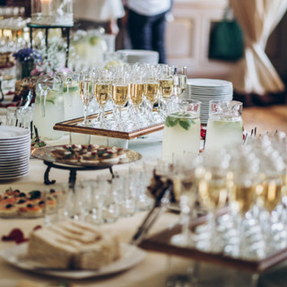 stylish champagne glasses and food  appe