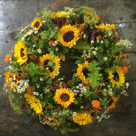 Sunflower wreath from £150.   Available in Summer/Autumn.