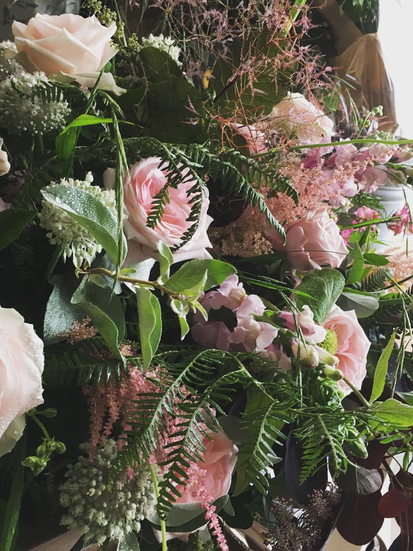 Cottage flower funeral display