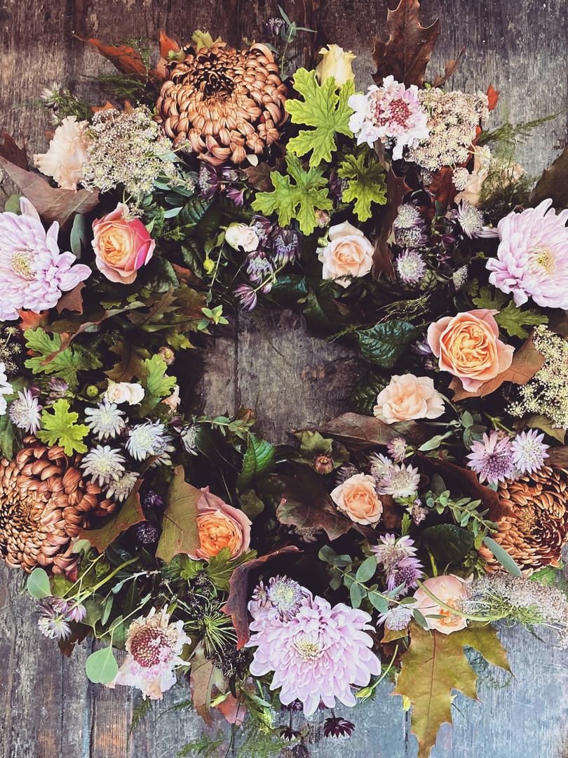 Autumn funeral wreath