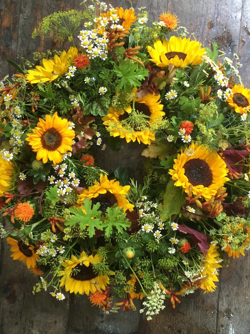 Sunflowers funeral wreath