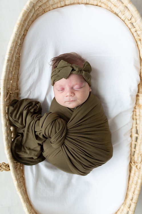 Swaddle Blanket & Headband Set Newborn-3 month - Olive Green