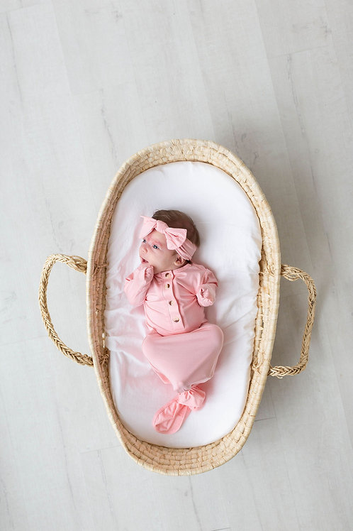 Newborn Knotted Baby Gown, Hat and Headband Set