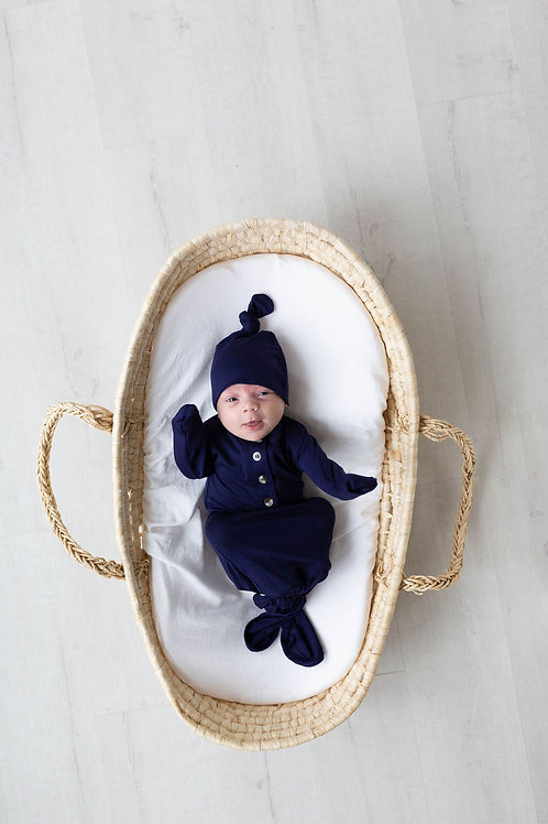 Newborn Knotted Baby Gown and Hat Set - Navy Blue