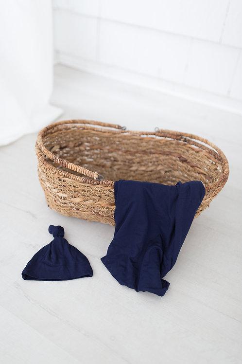 Swaddle Blanket & Adjustable Newborn-3 month Baby Hat - Navy Blue