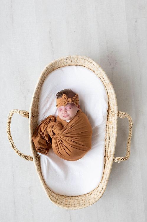 Swaddle Blanket & Headband Set Newborn-3 month - Camel