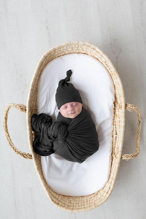 Swaddle Blanket & Adjustable Newborn-3 month Baby Hat - Black