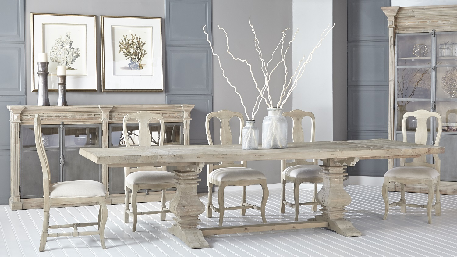 Monastery Extension Dining Table - Smoke Gray - Setting 1