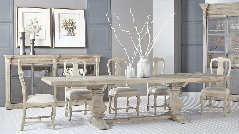 Monastery Extension Dining Table - Smoke Gray - Setting 1