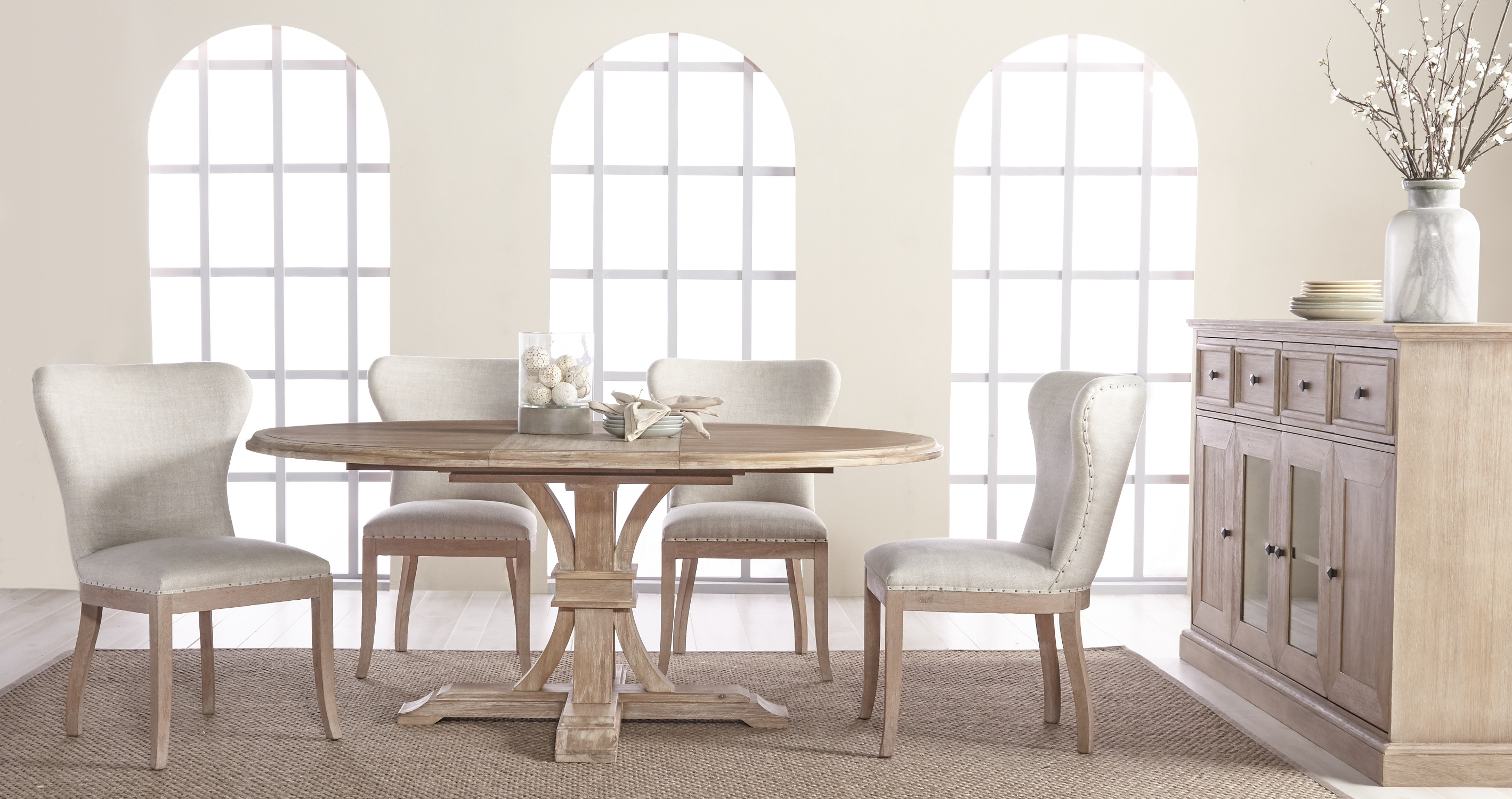 Devon Round Extension Dining Table - Stone Wash - Setting 3