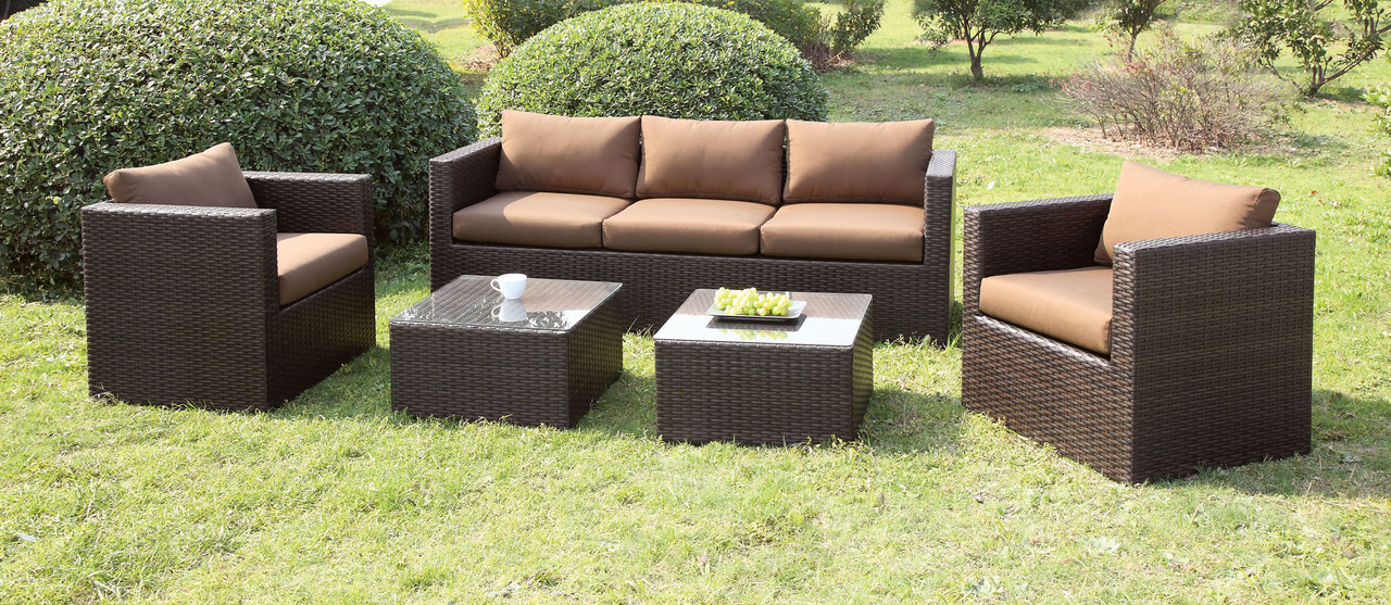 4 Pcs Espresso/Brown Sofa Set