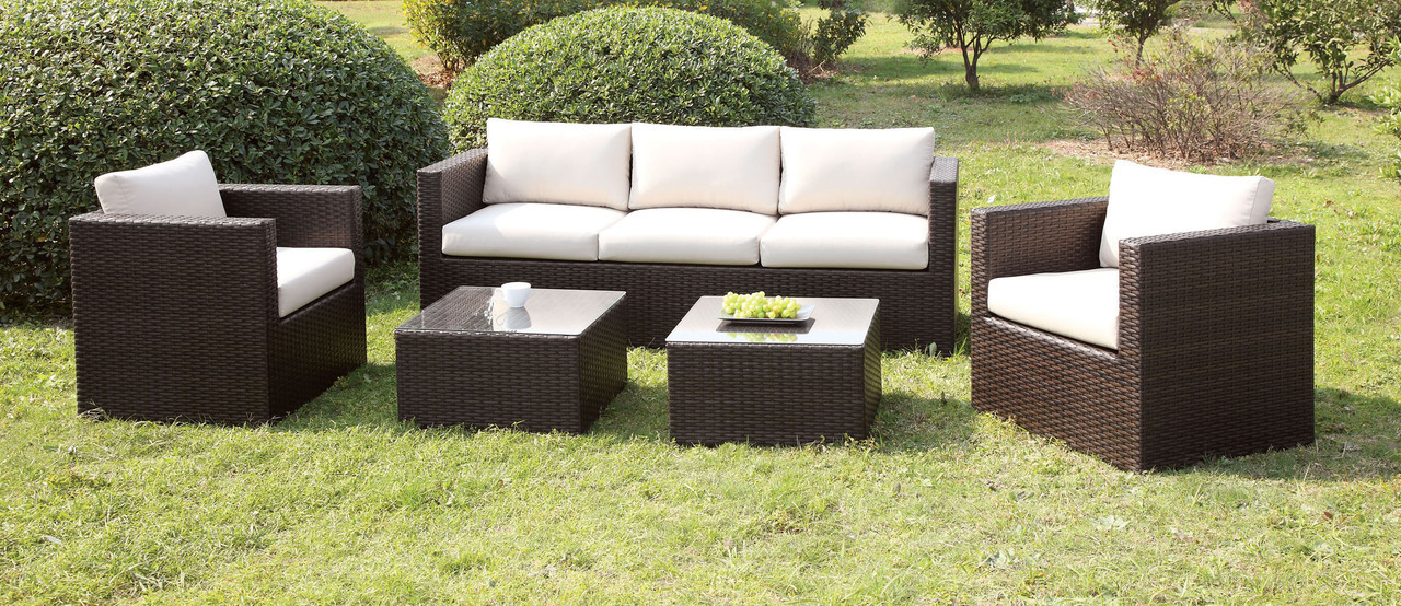 4 Pcs Espresso/Ivory Sofa Set