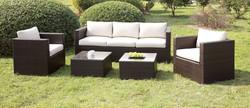 4 Pcs Espresso/Ivory Sofa Set