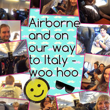 Pic collage of flight to Italy