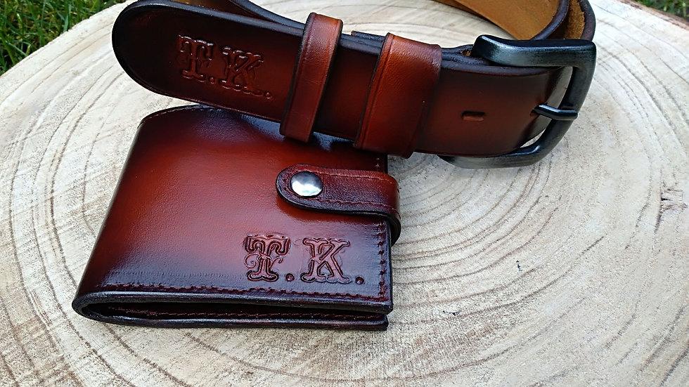 Pánská dárková edice opasek +peněženka