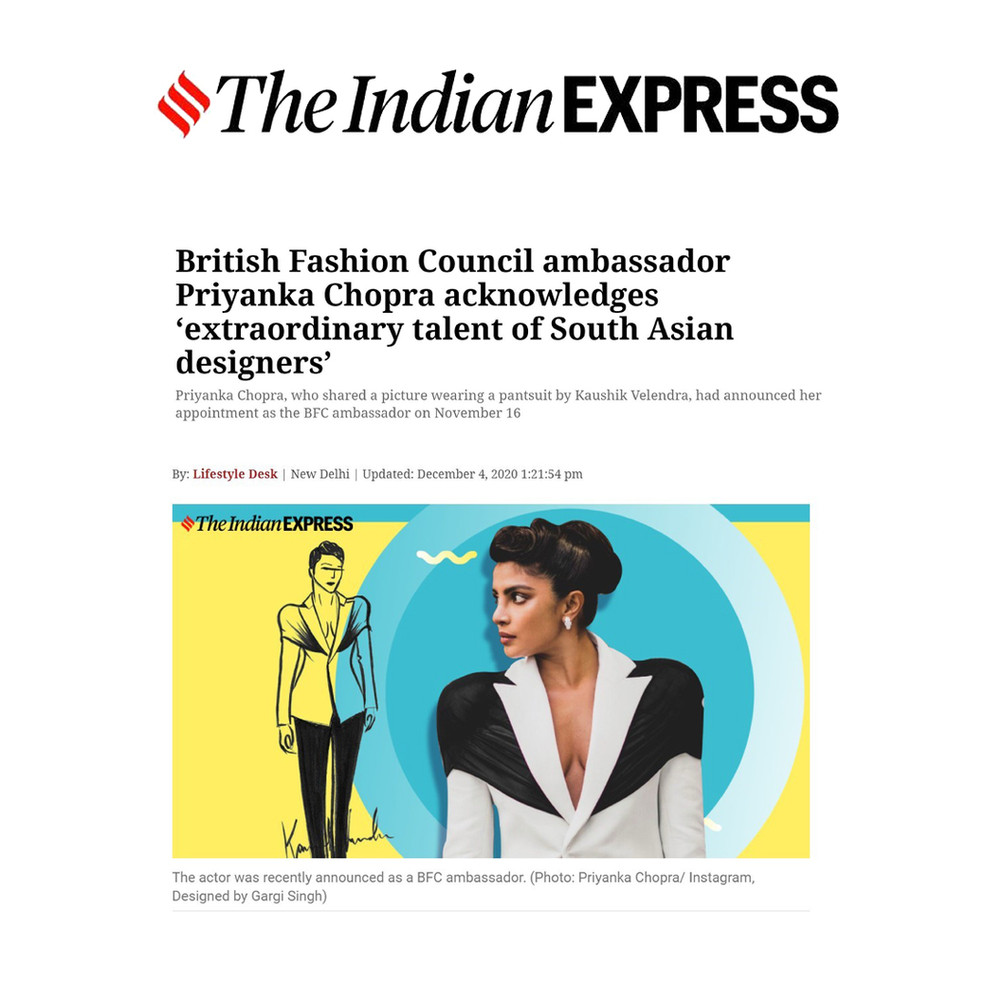 British Fashion Council ambassador Priyanka Chopra acknowledges 'extraordinary talent of South Asian designers'