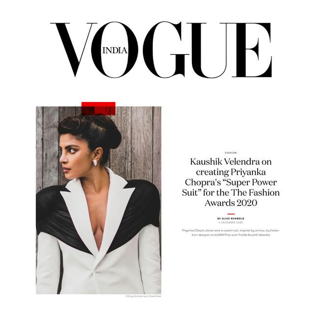 "Kaushik Velendra on creating Priyanka Chopra's ""Super Power Suit"" for the The Fashion Awards 2020"