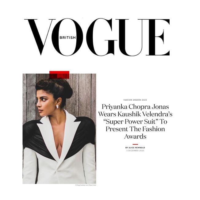 "Priyanka Chopra Jonas Wears Kaushik Velendra's ""Super Power Suit"" To Present The Fashion Awards"