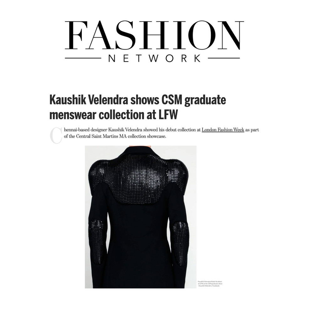 Kaushik Velendra shows CSM graduate menswear collection at LFW