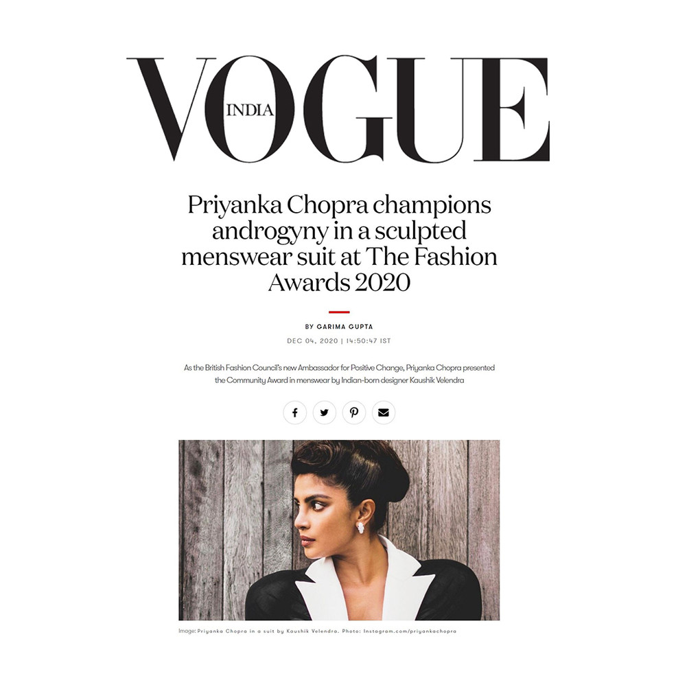 Priyanka Chopra champions androgyny in a sculpted menswear suit at The Fashion Awards 2020