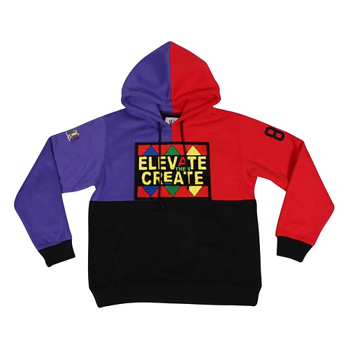 2D4K Colorblock Hoodie (Limited Edition) red and purple