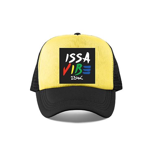 Black Yellow Issa Vibe Mesh Trucker Hat
