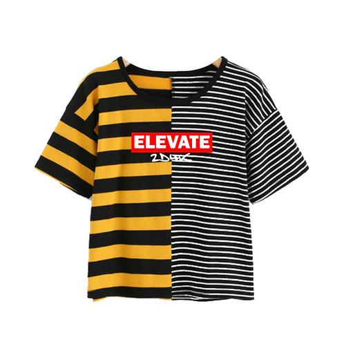 Stripe Crop T-shirt Black Yellow White 90s Supreme